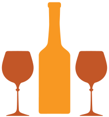Illustration of wine glasses and bottle